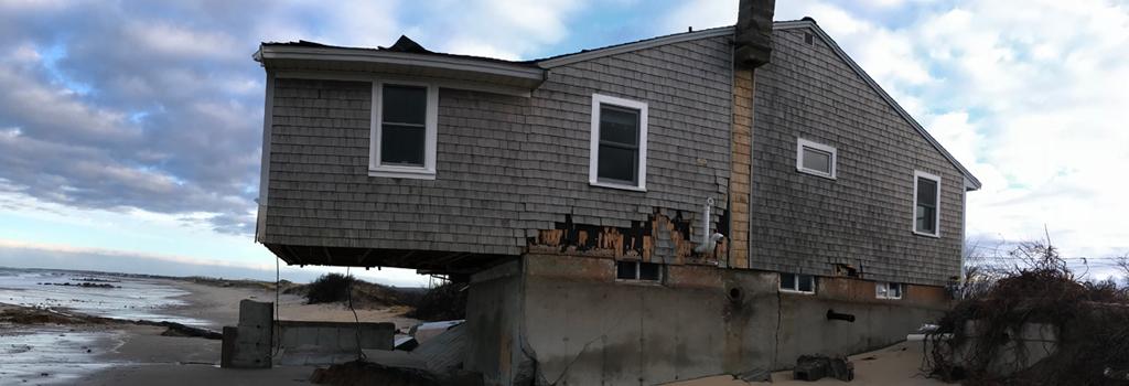 Severely eroded beachfront house