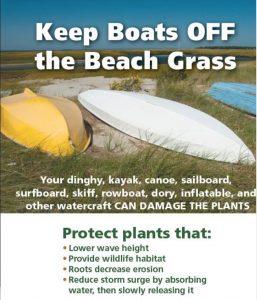 keep boats off dune grass poster