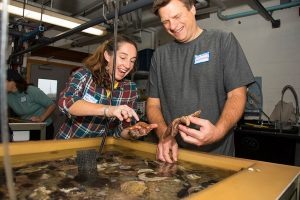 Teachers get up-close view of local sea life in touch tanks.