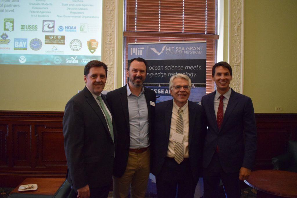 Rep. Jay Livingston, WHSG Director Matt Charette, MITSG Director Michael Triantafyllou, and Rep. Dylan Fernandes.