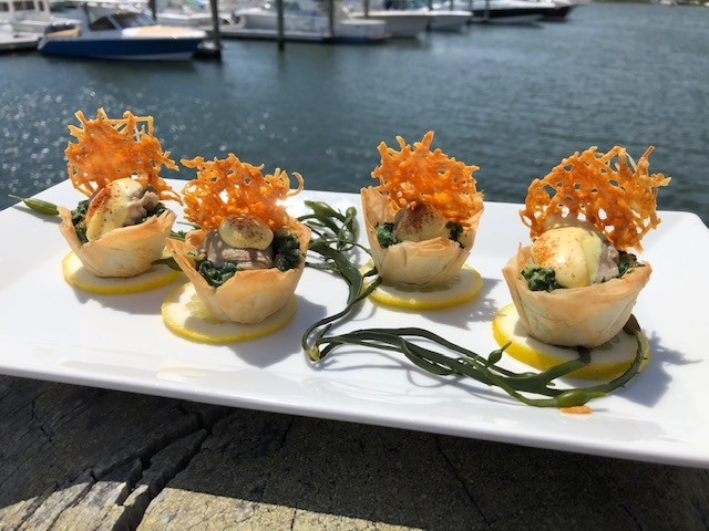 Chef Michael Beriau's butter-poached oyster tartlet with hollandaise sauce