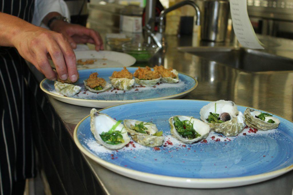 Chef Nick Raney's bang-bang fried oysters with seaweed salad