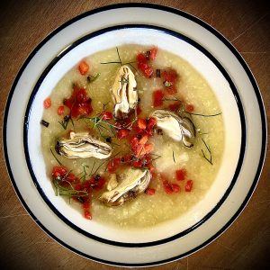 Cold Smoked Oysters, Roasted Red Pepper and Fennel Soup by Bethany Gregory at SKIP