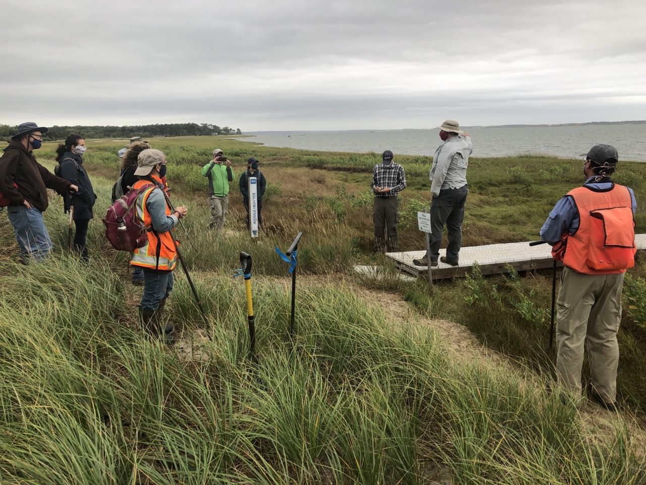 Coastal Processes Specialist Greg Berman helped lead a workshop for the Association of Massachusetts Wetland Scientists that focused on challenging wetland delineations along the coast of Cape Cod. Here Greg points out some of the features found at Mass Audubon's Long Pasture Wildlife Sanctuary.