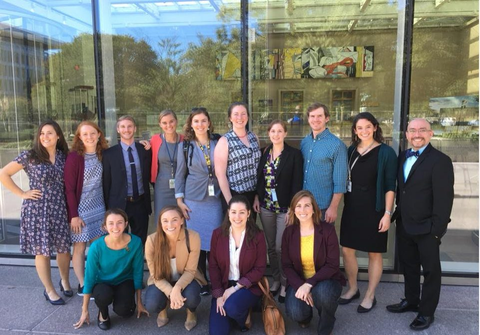 Ellie Bors, back row, far left, and other 2017 Knauss Fellows visited the State Department to learn about international relations.